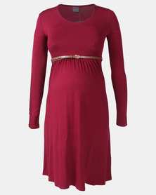 Cherry Melon Belted Scoopneck Dress Burgundy