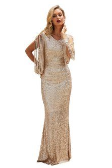 Polished Up Tassel Detail Sequin Gown - Rose Gold