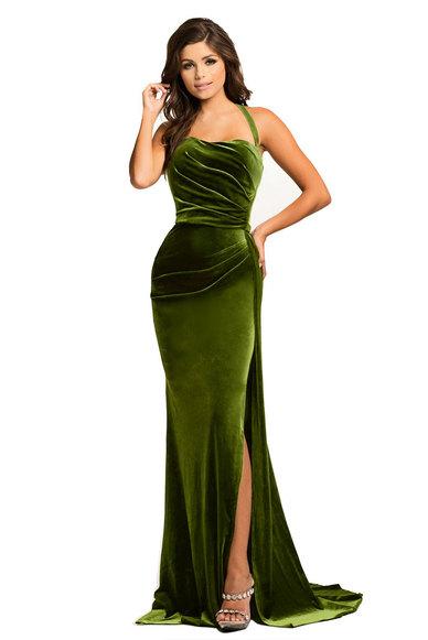 Touch of Sass Velvet Gown - Green