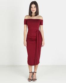 Solar Eclipse Off Shoulder Dress - Burgundy
