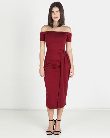 Solar Eclipse Off Shoulder Dress - Burgundy