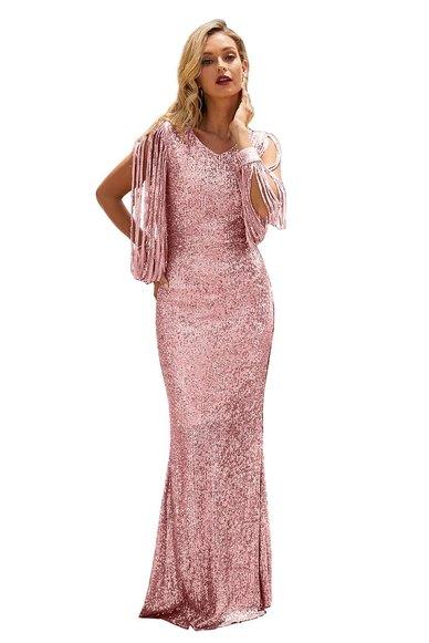 Polished Up Tassel Detail Sequin Gown - Pink