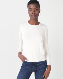 Royal T Chuncky Round-neck Jumper Cream