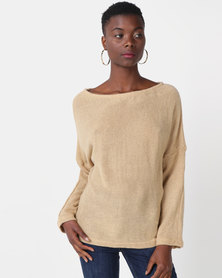 Royal T Off Shoulder Jumper Beige