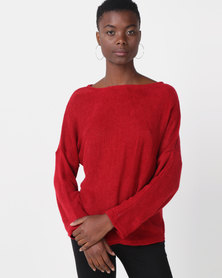 Royal T Off Shoulder Jumper Red