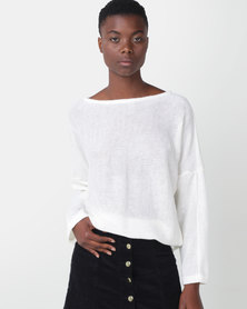 Royal T Off Shoulder Jumper Cream