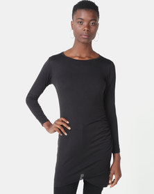 Royal T Fitted Long Sleeve Dress Black