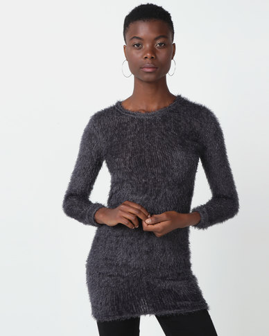 Royal T Fluffy Long Sleeve Jumper Dress Grey