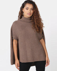 Royal T Poloneck Cape Knit Top Brown