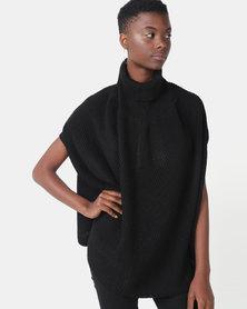 Royal T Poloneck Cape Knit Top Black