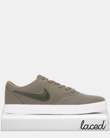 Nike SB Check Solarsoft Canvas Skateboarding Sneakers Medium Olive/Sequoia-Medium Olive-White