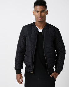 Utopia Puffer Jacket With Ribbing Black