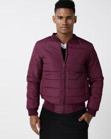 Burgundy Puffer Jacket With Ribbing Maroon