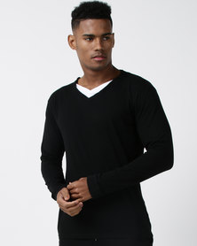 Utopia Long Sleeve Cotton V-neck Tee Black
