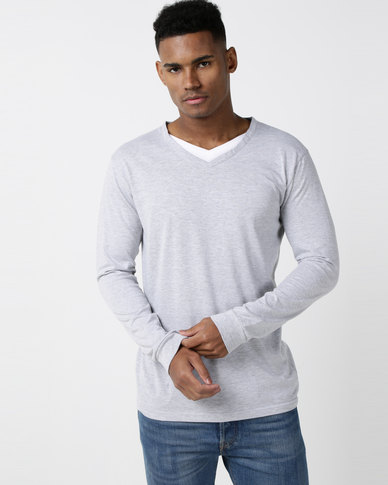 Utopia Long Sleeve Cotton V-neck Tee Grey