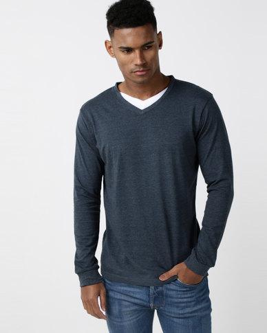 Utopia Long Sleeve Cotton V-neck Tee Steel Blue