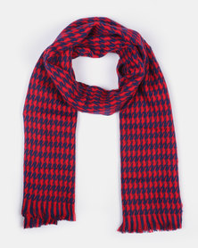 Miss Maxi Houndstooth Balcket Scarf Red/Blue