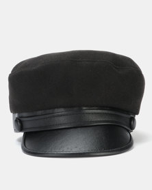Miss Maxi PU Peak Baker Boy Hat Black