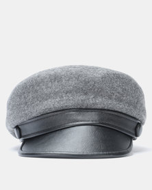Miss Maxi PU Peak Baker Boy Hat Grey