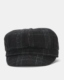Miss Maxi Check Baker Boy Hat Black