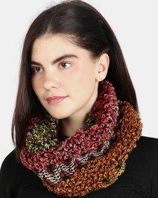 UB Creative Knit Infinity Scarf - Red Multi