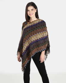 UB Creative Knit Poncho - Blue Multi