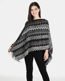 UB Creative Knit Poncho - Black Multi