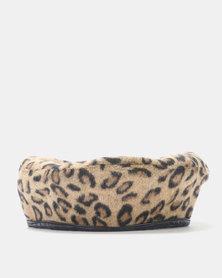 Miss Maxi Leopard Print Beret Natural
