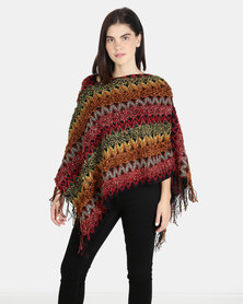 UB Creative Knit Poncho - Red Multi