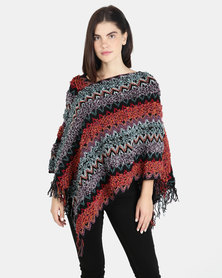 UB Creative Knit Poncho - Purple Multi