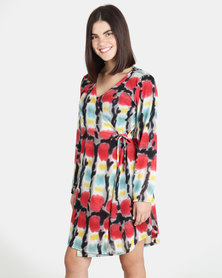 UB Creative Jersey Knit Wrap Dress - Red Multi