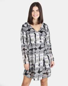 UB Creative Jersey Knit Wrap Dress - Grey Multi