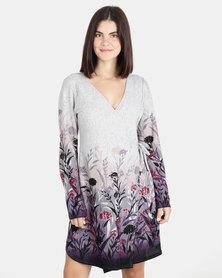 UB Creative Floral Border Jersey Knit Wrap Dress Purple