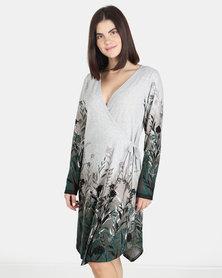UB Creative Floral Border Jersey Knit Wrap Dress Green