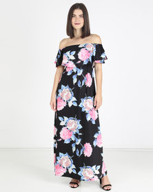 Who I Am Floral Off Shoulder Ruffle Maxi Dress