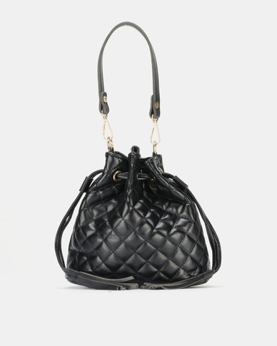 Miss Maxi Quilted Bucket Bag Black