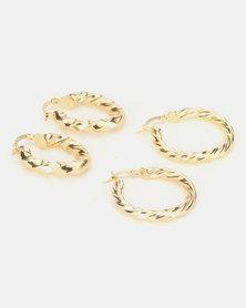 Miss Maxi 2 Pk Twisted Hoop Earrings Gold