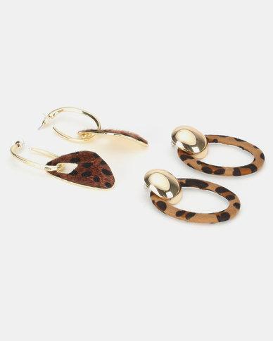 Miss Maxi 2 Pack Sculptural Drop Earrings Tortoise Brown