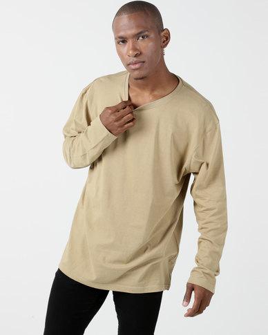 Utopia Basic 100% Cotton Long Sleeve Tee Khaki