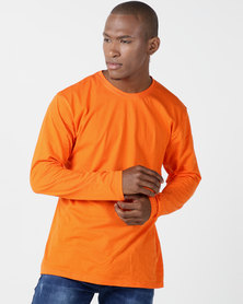 Utopia Basic 100% Cotton Long Sleeve Tee Orange