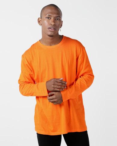 Utopia Basic 100% Cotton Long Sleeve Tee Orange