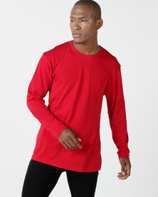 Utopia Basic 100% Cotton Long Sleeve Tee Red