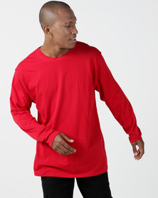 Utopia Basic 100% Cotton Long Sleeve Tee Red