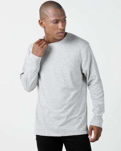 Utopia Basic 100% Cotton Long Sleeve Tee Grey Melange