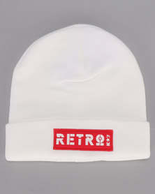 K-Star 7 Retro Block turn up Beanie White