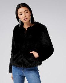 Forever New Angel Cropped Fur Coat Black