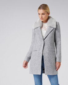 Forever New Natalie Textured Crombie Grey