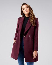 Forever New Amelia Crombie Coat Berry