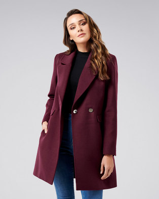 e4df90fb1e73 Forever New Amelia Crombie Coat Berry