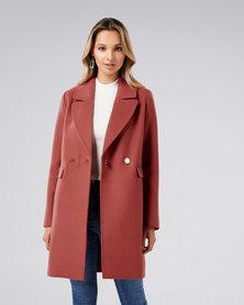 Forever New Amelia Crombie Coat Rust
